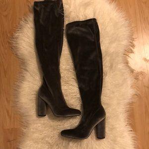 velvet thigh boots